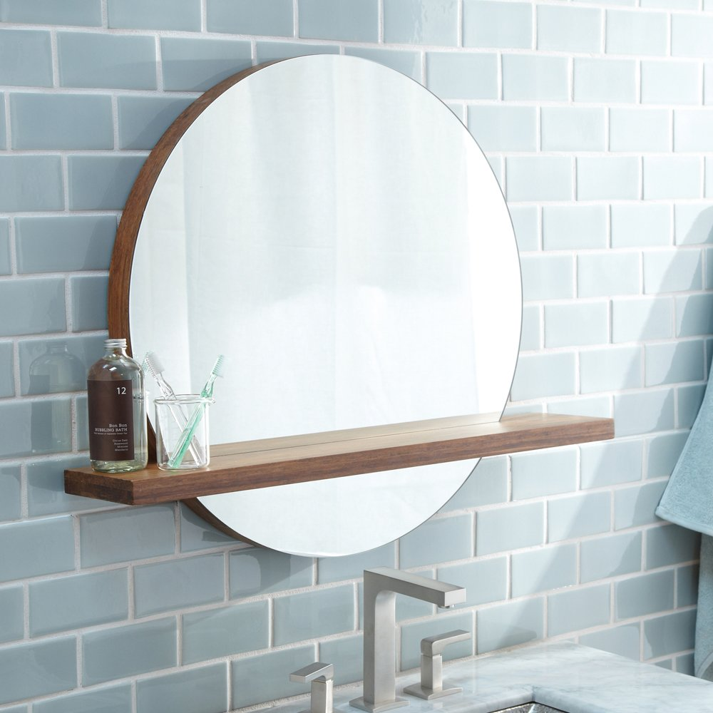 Native Trails MC222 Solace Round Wall Mirror with Shelf, Woven Strand Bamboo