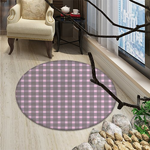 Geometric Round Rugs Ornate Checkered Squares Pattern Vintage Color Palette Abstract Retro MotifsOriental Floor and Carpets Warm Taupe (Contemporary Retro Palette)