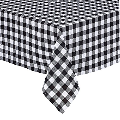 (Lintex Buffalo Gingham Check Indoor/Outdoor Casual Casual Cotton Tablecloth, Buffalo Plaid 100% Cotton Weave Kitchen, Patio and Dining Room Tablecloth, 52 x 52 Square,)