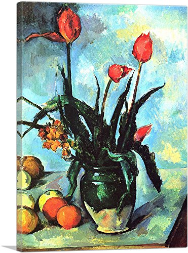 (ARTCANVAS Tulips in a Vase 1892 Canvas Art Print by Paul Cezanne- 26