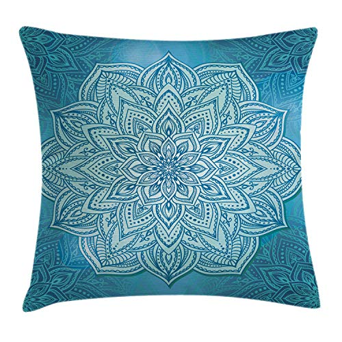Ambesonne Mandala Throw Pillow Cushion Cover, Oriental Style Lotus Flower Spiritual Zen Design in Blue Shades, Decorative Square Accent Pillow Case, 18 X 18 Inches, Blue Pale Blue and Turquoise
