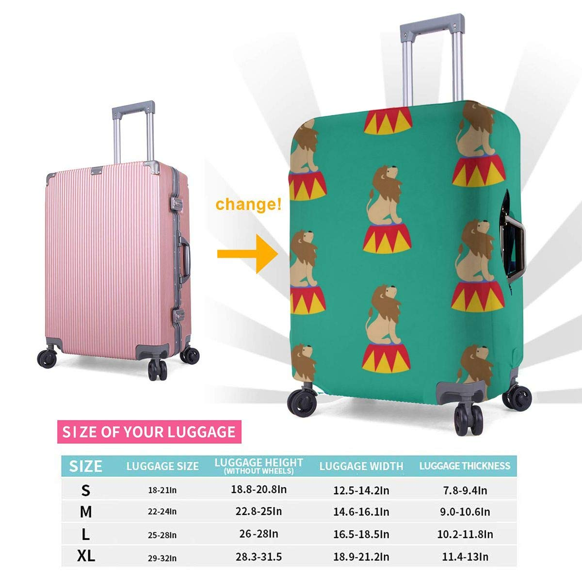 JHNDKJS Lion in Circus Travel Luggage Cover Baggage Suitcase Protector Fit for 12-18 Inch Luggage