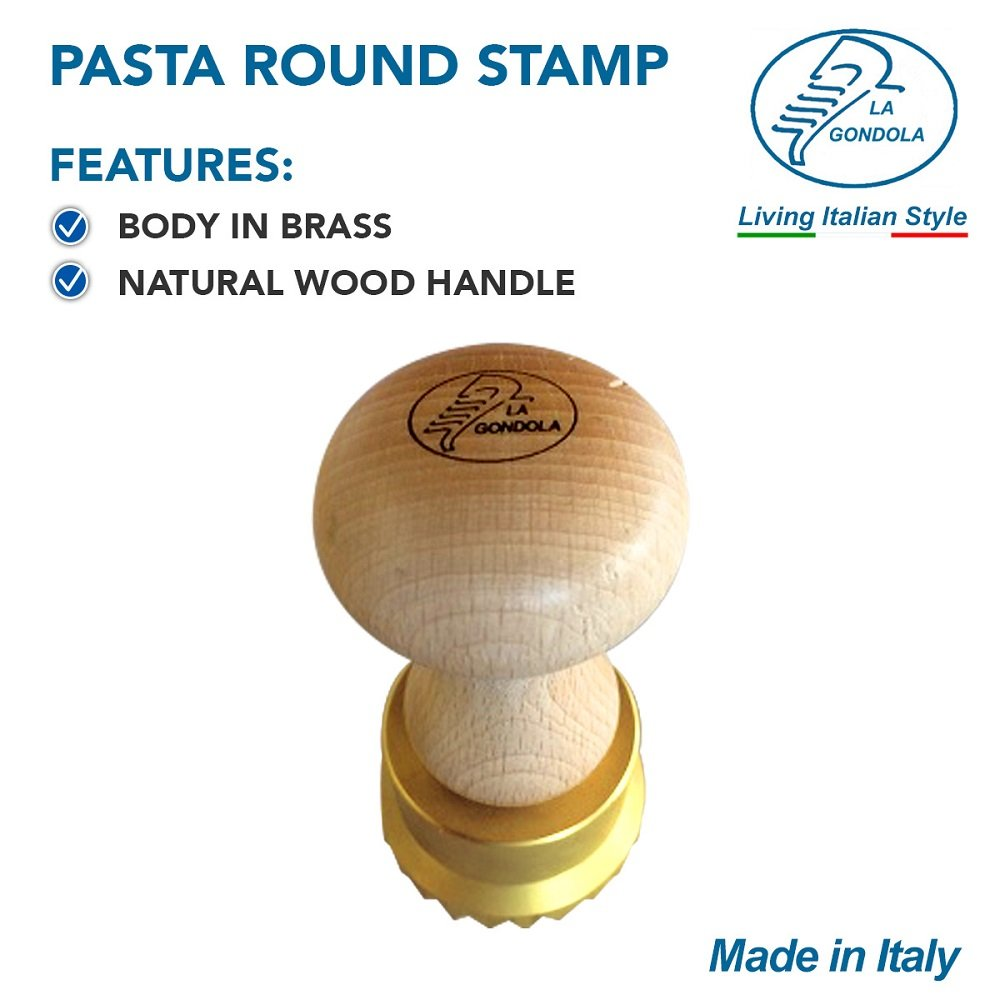 LaGondola Bundle : 1 Square Ravioli Stamp 45x55 , 1 Round Professional Tortelli Stamp 50 mm and 1 Pasta Cutter Festooned in Brass and Natural Wood by LaGondola (Image #4)