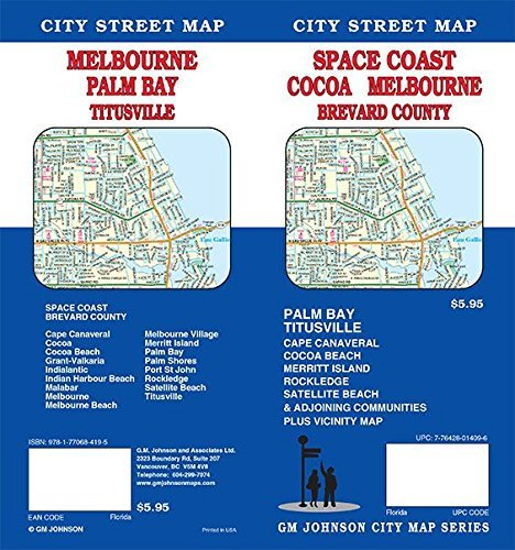 Cocoa / Melbourne / Brevard County / Space Coast, Florida Street Map by GM Johnson - Mall Florida Melbourne Melbourne