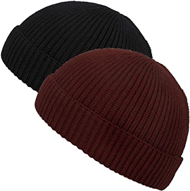 Maxnova Knit Cuff Short Fisherman Beanie Hat For Men Women Winter 2pack Black Burgundy At Amazon Men S Clothing Store