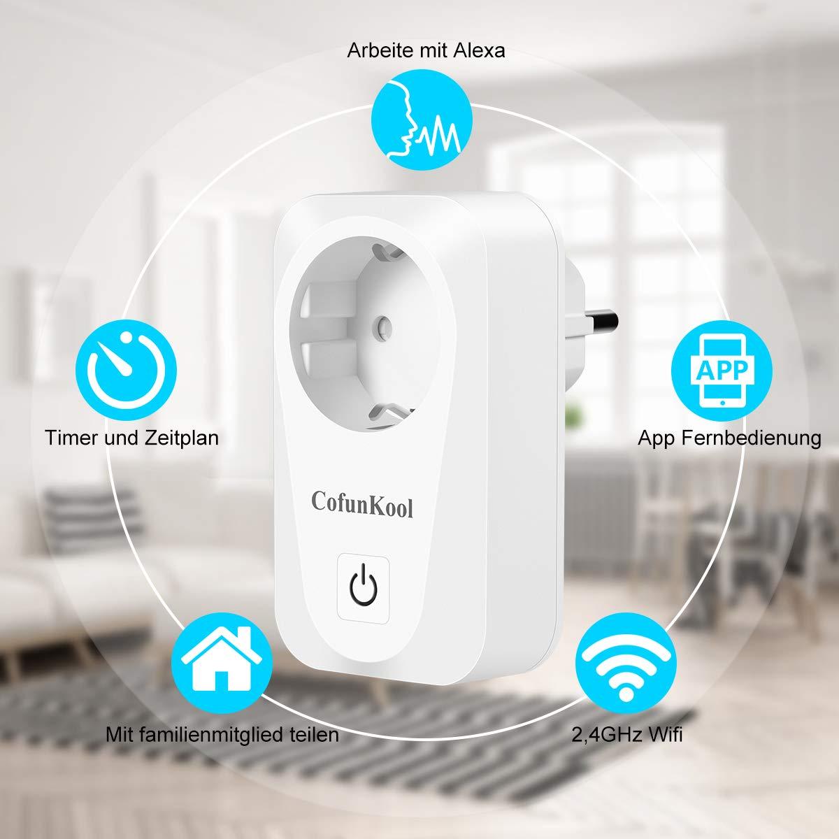 Smart Steckdose CofunKool Intelligente Wifi Steckdose mit Google home und Amazon Alexa (Echo und Echo Dot) Fernbedienung Plug 16A