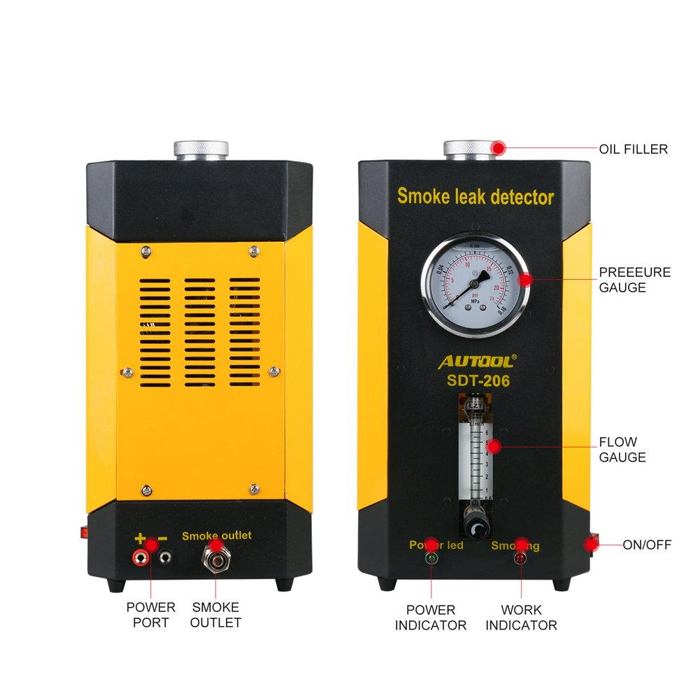 AUTOOL Vehicle Boat Conduit Pipe System Smoke Leak Detecting Tester  Diagnostic Machine with Flowmeter Pressure Guage