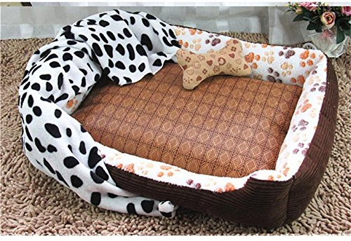 Amazon.com : Be Good Pet Bed Dog Mat House Removable Pad Set of Four with Solid Plush Dog Sofa Flannel Fleece Blanket Bone Shaped Pillow Summer Mat for ...