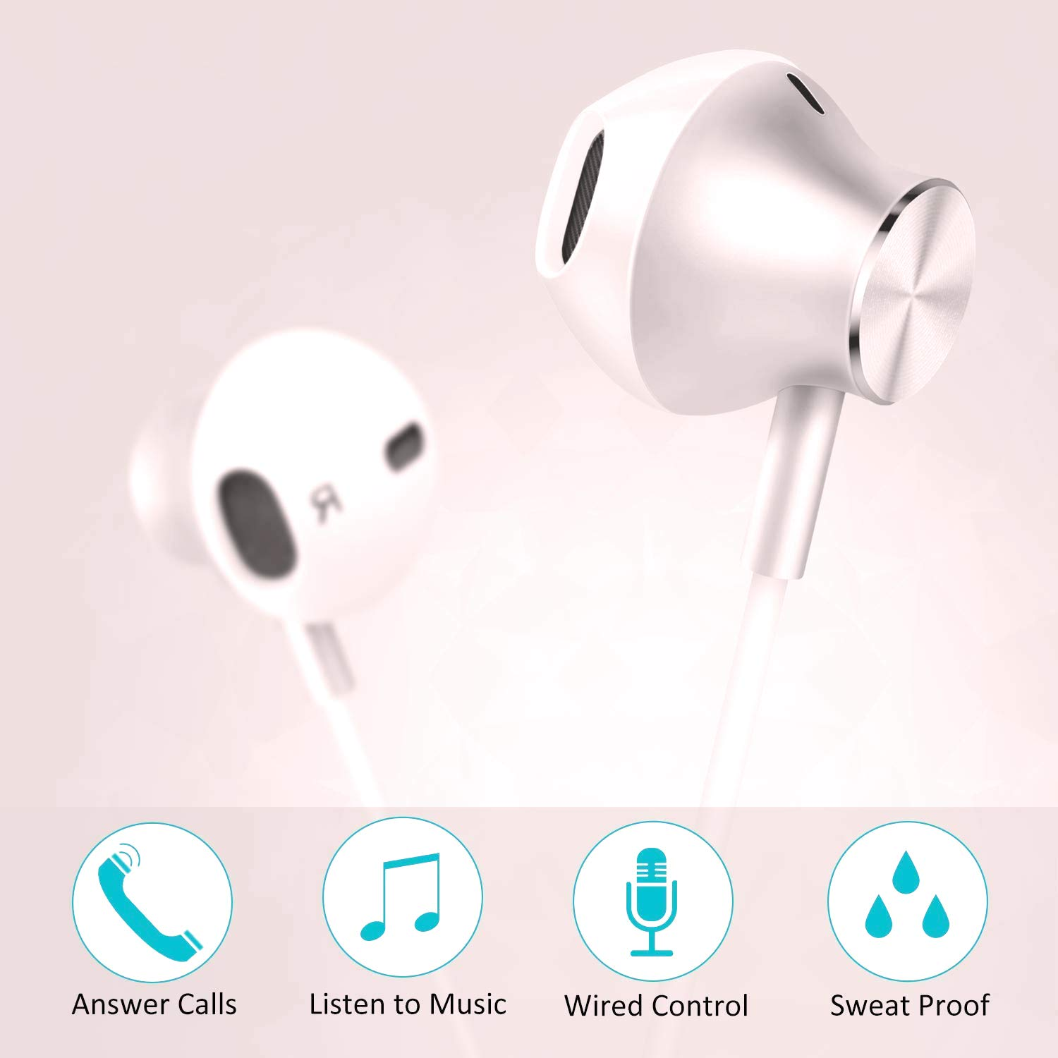 Amoner in Ear Earphone Stereo Sound Earbuds for Android Smartphones