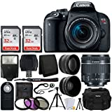 Canon EOS Rebel T7i Digital SLR Camera with EF-S 18-55mm f/4-5.6 IS STM Lens + 58mm Wide Angle Lens + 2x Telephoto Lens + Flash + 64GB SDHC Memory Card + UV Filter Kit + Tripod – Top Valued Bundle