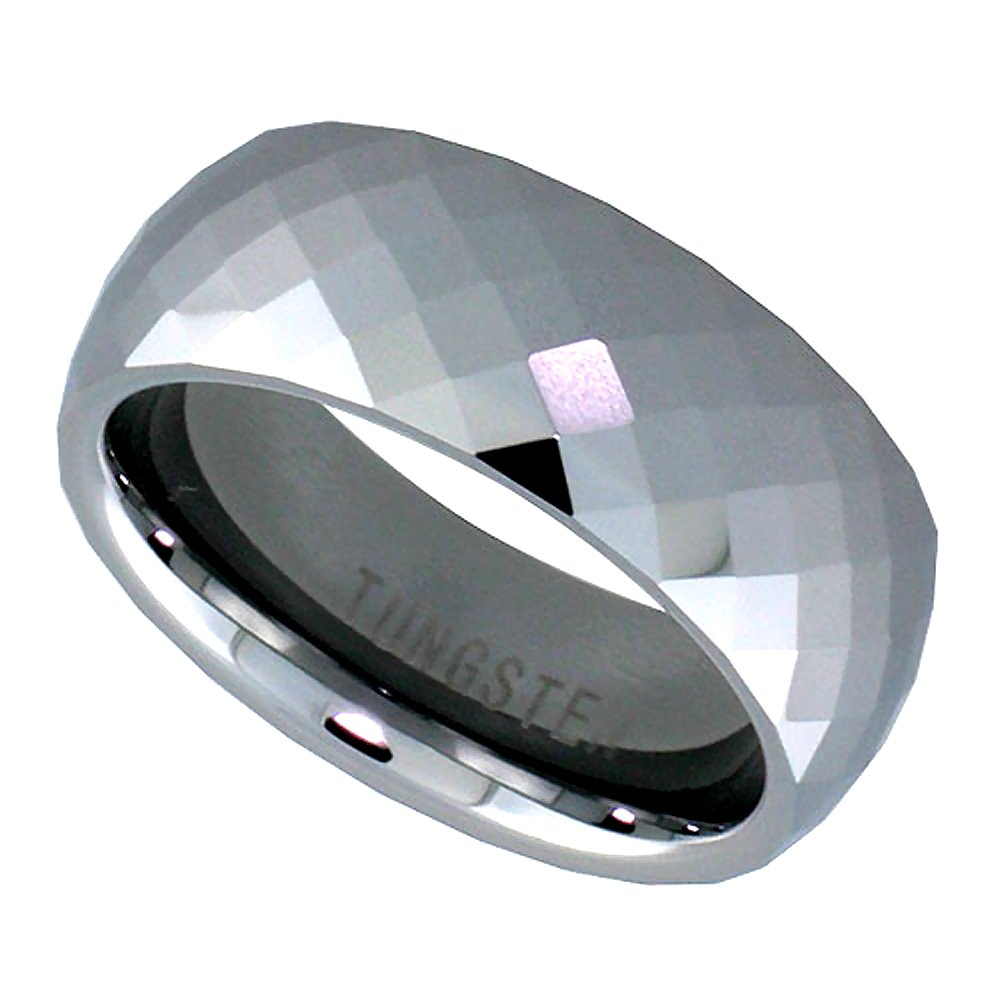 8mm Tungsten 900 Wedding Ring Faceted Dome Fine Diamond Pattern Comfort fit, size 10.5