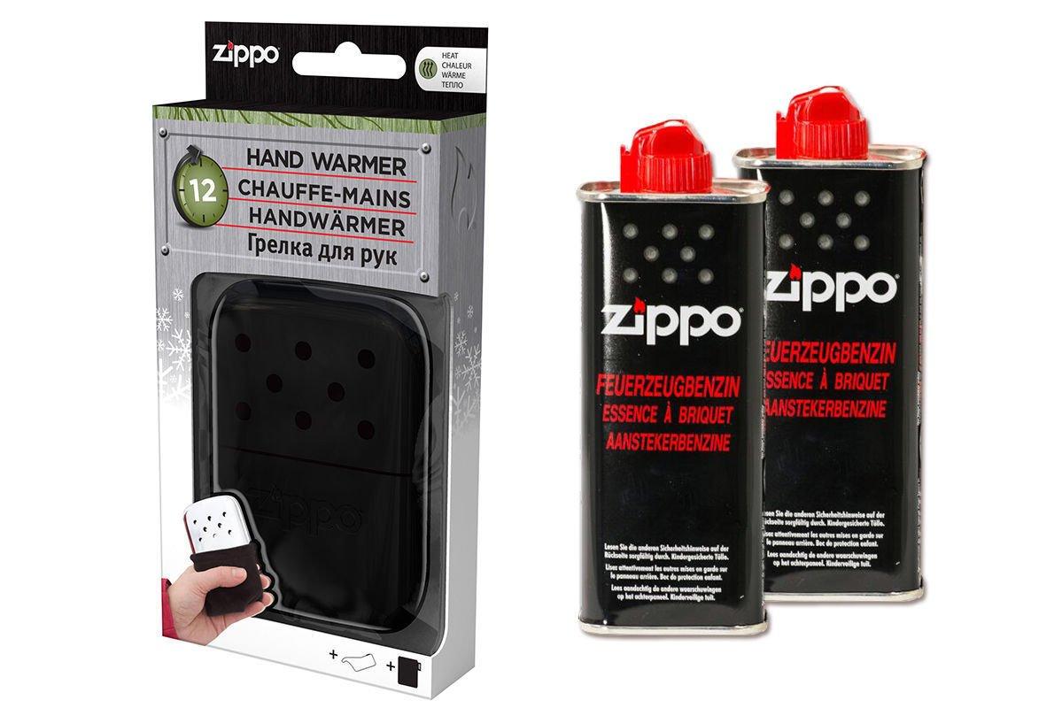 2/x essence Zippo Set haute qualit/é chauffe-mains noir grand format 12/heures dautonomie