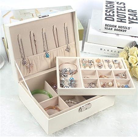 Gu3Je Joyero PU de Cuero de la joyería de Almacenamiento Caja joyero Pendientes Joyas Caja de Caja del Anillo Caja para Guardar Joyas (Color : White, Size : 23x17x8.5cm): Amazon.es: Hogar