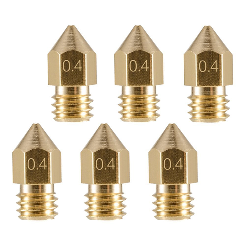 Bonus: 2pcs cleaning drill Bits EAONE 6pcs 30MM Length Extruder 1.75MM Tube and 6pcs 0.4MM Brass Extruder Nozzle Print Heads for MK8 Makerbot Reprap 3D Printers