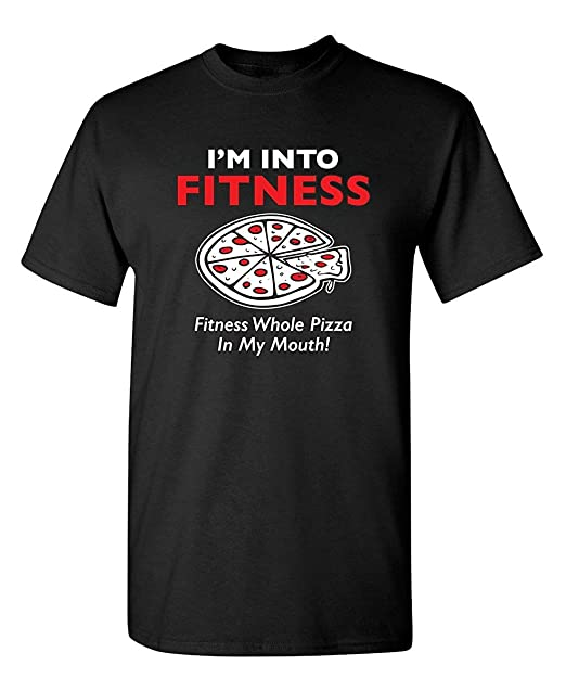 7e248b96a Wtbkshirt Fitness Whole Pizza Sarcastic Humor Novelty Men's Printed Sleeve  Tee Cotton Shirts-Black-