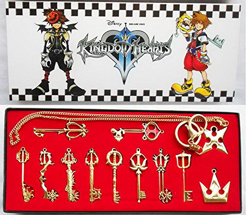 XCOSER Kingdom Hearts Keyblade Sora Weapon Keychain Pendant for Collection Golden 12pcs