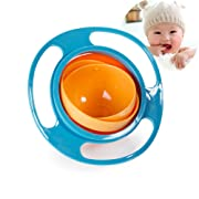 Baby Bowl Children Tableware Non Spill Bowl Toy Dishes Universal 360 Rotate Avoid Food Spilling Food Snacks BowlLunch Box Children Christmas Gifts (Blue)