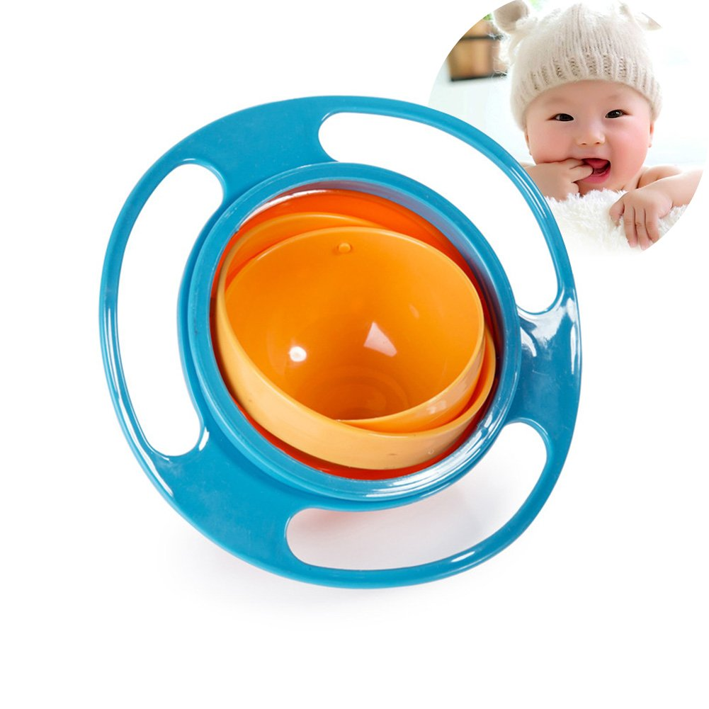 Baby Bowl Children Tableware Non Spill Bowl Toy Dishes Universal 360 Rotate Avoid Food Spilling Food Snacks Bowl Lunch Box Children Christmas Gifts (Blue)