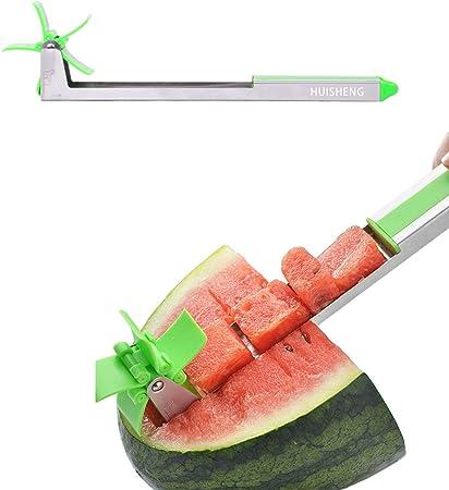 Oferta amazon: HUISHENG Cortador de Sandía, Molino de Viento Cocina Rebanador Cuchillo de Fruta para Cortar Sandía Melón