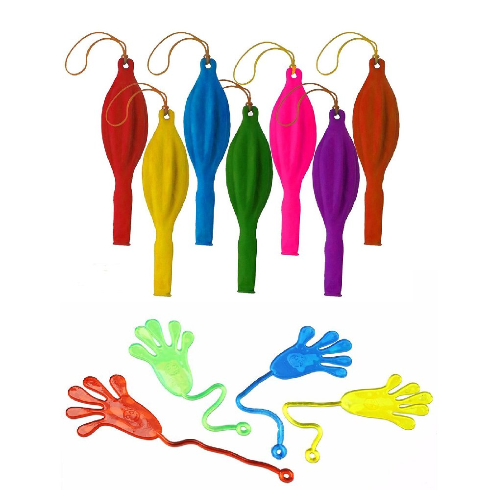 GOLF 36Pcs 18'' Punch Balloons | 20Pcs Glitter Sticky Hands | Assorted Color Neon Balloons and Wacky Fun Stretchy Glitter Sticky Hands For Kids, Party Favors, Birthday Parties