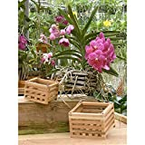 "4"" Natural Wooden Square Hanging Basket Outdoor Garden Planters 2-Pack (1)"