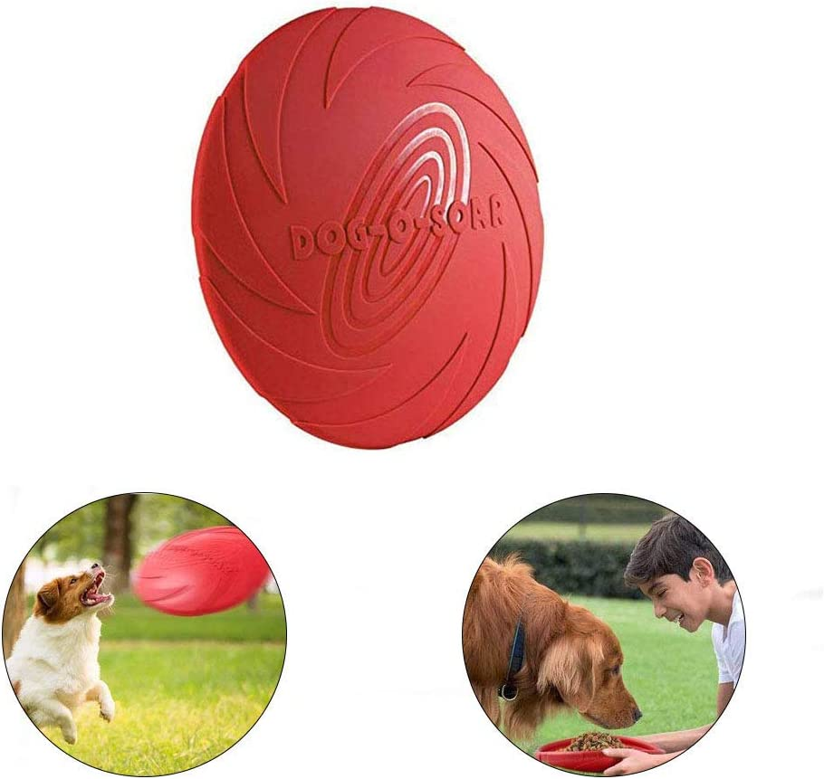 YFOX Frisbee Juguete de Perro de Goma Natural Flotante (Rojo)