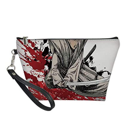 Japanese Useful Cosmetic Bag,Warrior Holding a Katana in ...