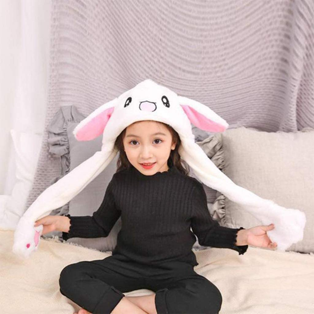Cute Bunny Hat Ear Moving Jumping Hat Funny Animal Plush Rabbit Hats Kids Adult Christmas Party Cosplay Holiday Hats White