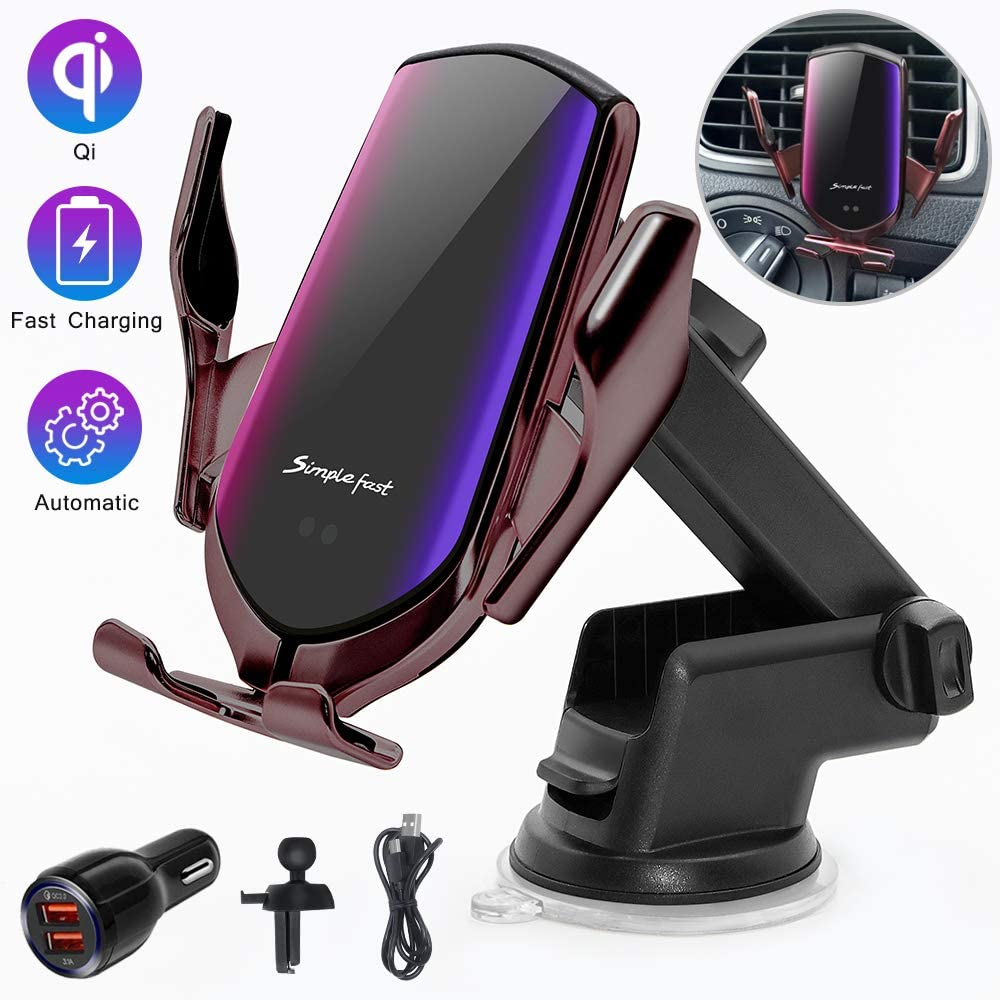 Wireless Car Charger Mount,Windshield Dash Air Vent Phone Holder Compatible iPhone 11/11 Pro/11 Pro Max/Xs MAX/XS/XR/X/8/8+,Samsung S10/S10+/S9/S9+/S8/S8+