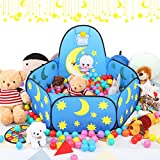 Kids Ball Pit Toddler Ball Pit Large Blue Baby Play Pit with Basketball Hoop&Zippered Storage Bag Ideal for Toddlers Pets Indoor Outdoor Play Balls Not Included(42 Inch)