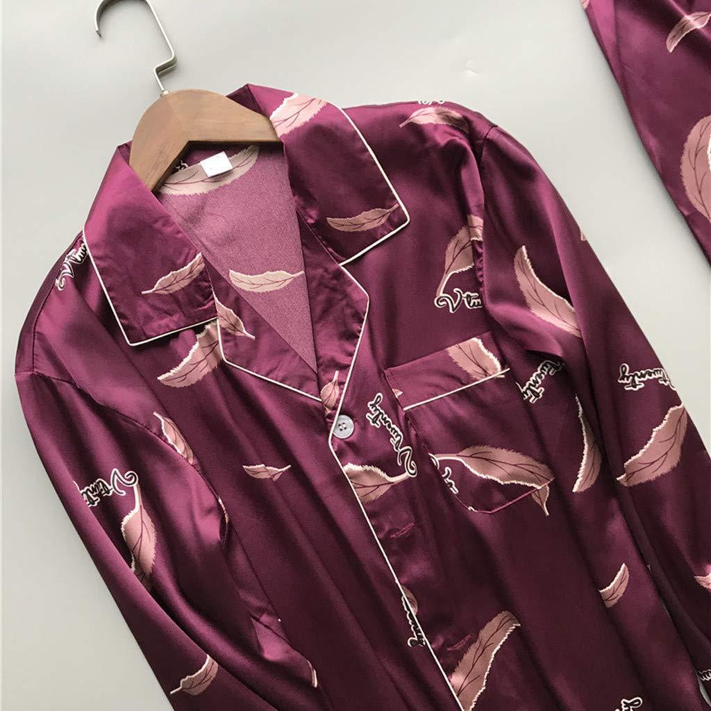 JPOQW-summer Mens Long Sleeve Pajama Set Print Lapel Button Blouse Long Pants Spring Satin Sleepwear