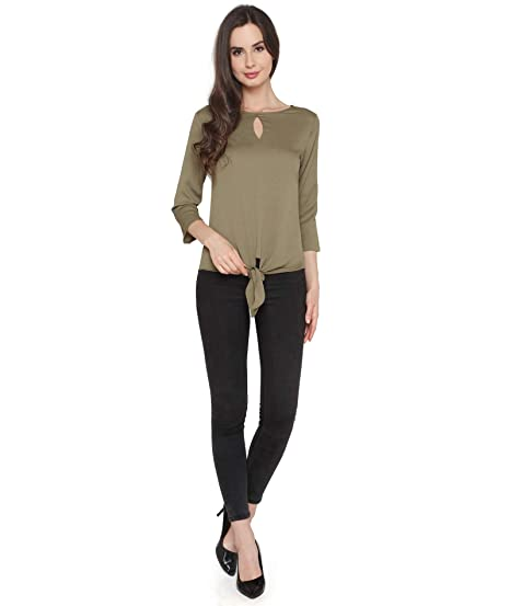 2f527cb2c78 P-Nut Green Colour 3/4 Sleeve Polyester Regular Fit Top: Amazon.in ...