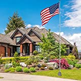 Aluminum Telescopic Flagpole Flag Ball Pole Top Kit W/ 3'x5' American Flag Outdoor Home Garden Festival Solid Construction (30 Ft)