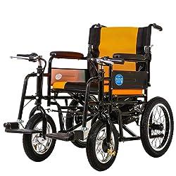 LIXIAO Fauteuil Roulant électrique Pliage Léger Personnes âgées Personnes âgées Handicapées Intelligent Scooter à Quatre Roues Automatique Hors Route,Orange