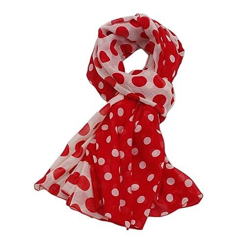 Donna Colore di Contrasto a Pois Sciarpe Stole Scialli Wrap(Rosso)