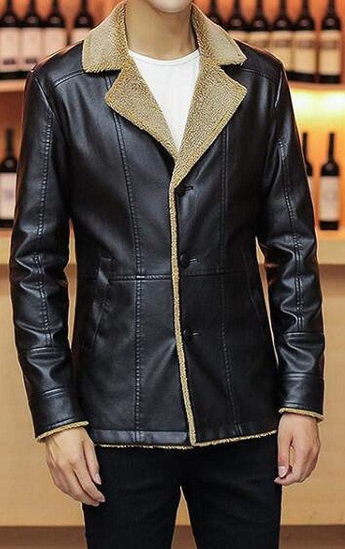 Fensajomon Mens Fleece Faux Leather Longline Winter Warm Luxury Windbreaker Jacket Coat
