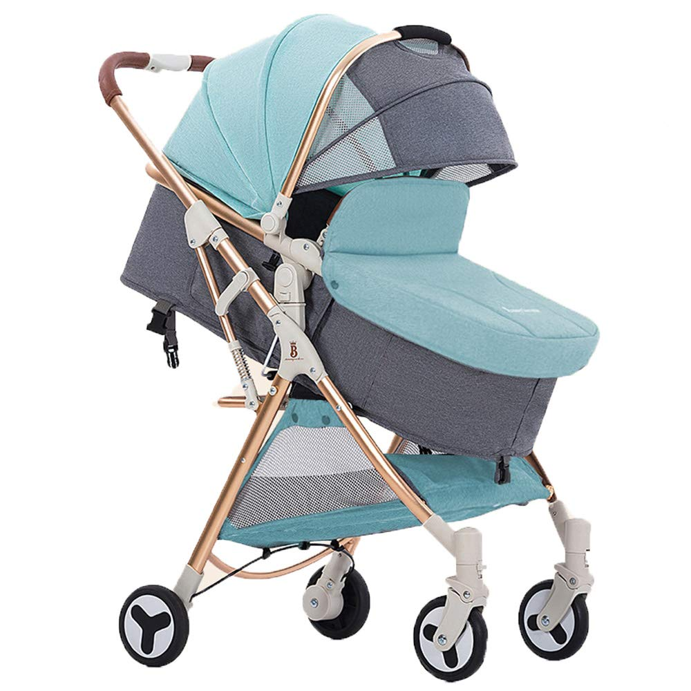 Stroller Organiser with Cup Holder, Lightweight Pram Travel System One Step Design for Opening and Folding Sun Shade with Rain Cover with Cup Holder Hooks, Green