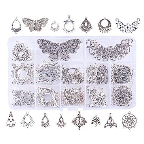 Pandahall Elite 90 PCS 15-Style Antique Silver Tibetan Earring Chandelier Earring Jewelry Making Kit for Earring Drop and Charm Pendant in Storage - Jewelry Earrings Kit