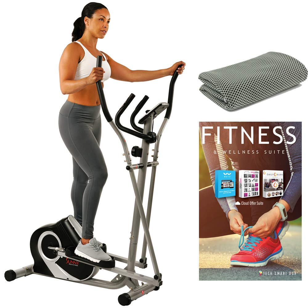 Sunny Health and Fitness Ozone Magnetic Elliptical with Tech Smart USA Fitness & Wellness Suite Bundle