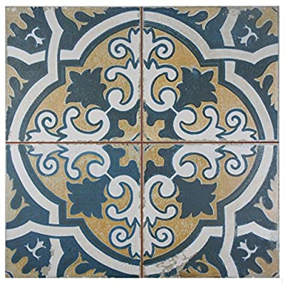 "SomerTile FPECAFS2 Reyes Ceramic Floor and Wall Tile, 17.75"" x 17.75"", White/Yellow/Blue/Beige"