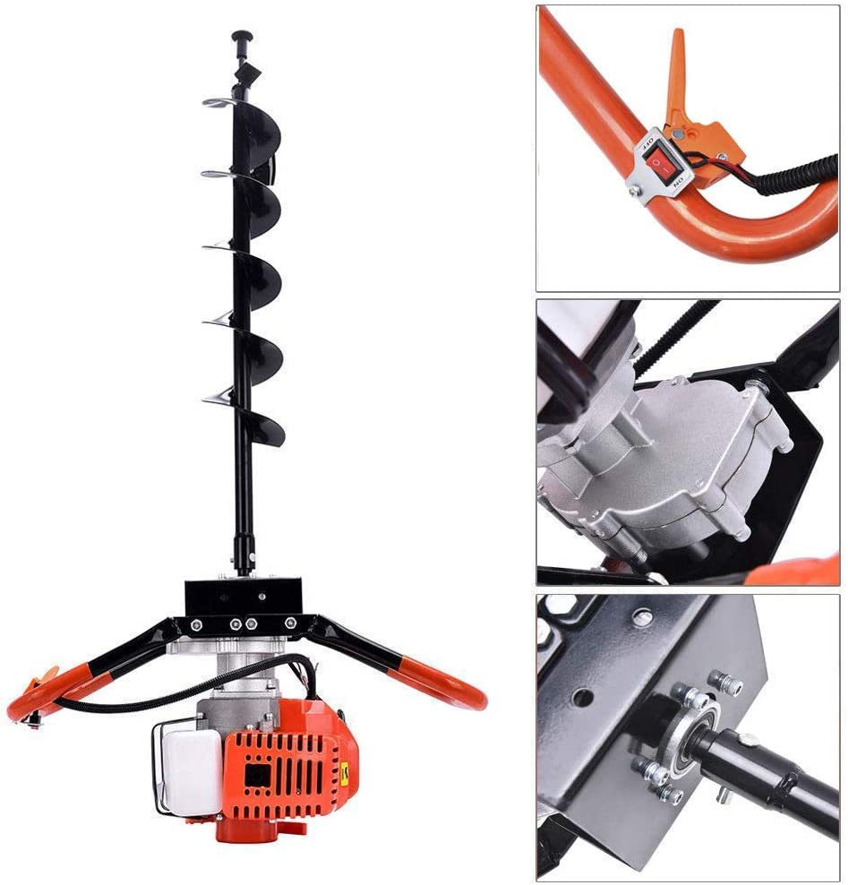 4+8+12 QUECAOCF 72cc 2 Stroke Petrol Gas Powered Post Hole Digger with 3 Earth Auger Drill Bits and 3 Extension Rods