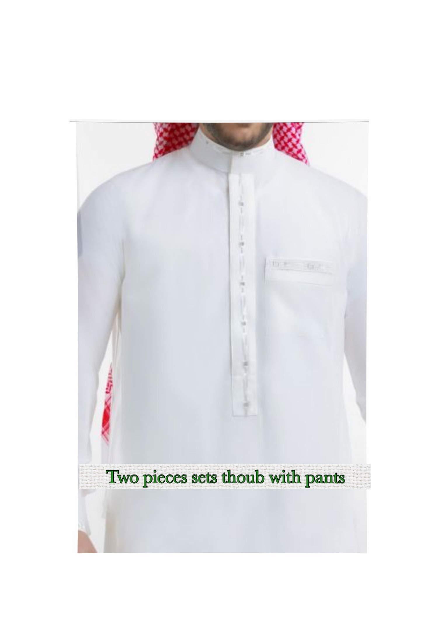 Thobe jubba Dishdasha Thawb Thoub Muslim Islamic Abaya Daffah Kaftan Robe set
