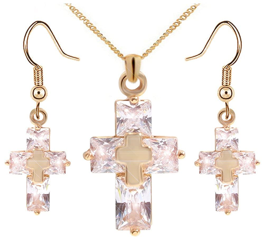 Crystal Metal Cross Necklace S...