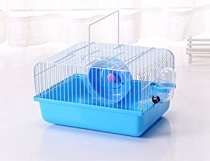 Misyue Hamster Cage Portable Carrier Hamster Carry Case Cage with Water Bottle&Wheels&Food Feeder Travemster Small Animals (Blue)