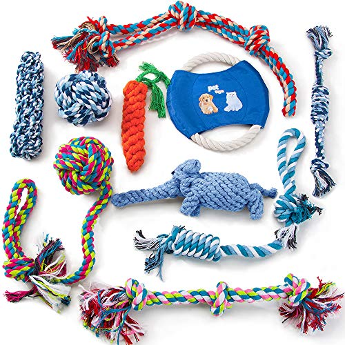 HIPIPET 10pcs Rope Dog Toys Large Dog Toy Balls Flying Discs Chew Tug Toss Toys Set for Medium Large Dogs