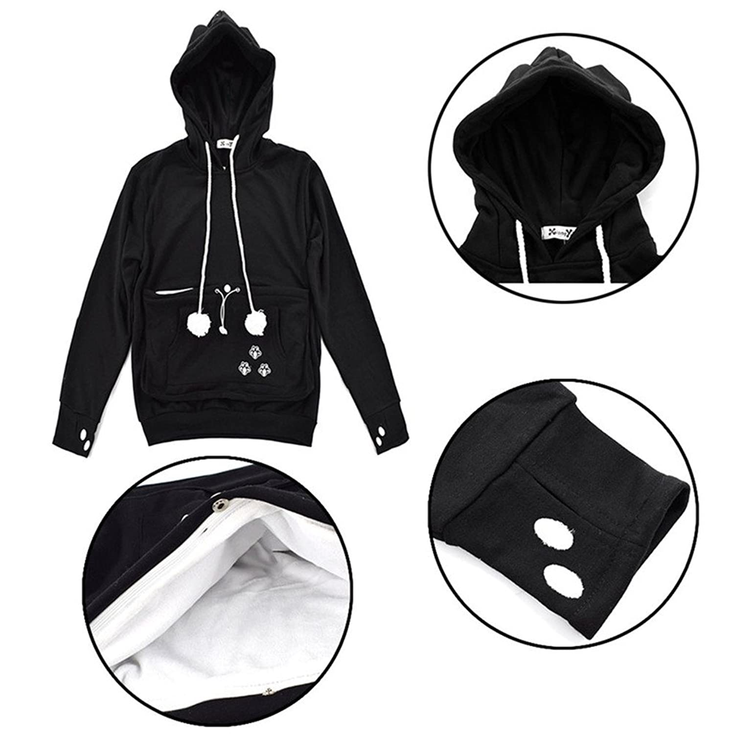 Xiongyi Unisex Mewgaroo Pet Holder Cat Eared Kangaroo Pouch - Hoodie with kangaroo pouch is the perfect cat accessory