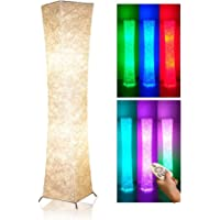 """Soft Light Floor Lamp, 52"""" LEONC RGB Color Changing LED Tyvek Fabric Shade Dimmable Remote Control & 2 Smart LED Bulb…"""