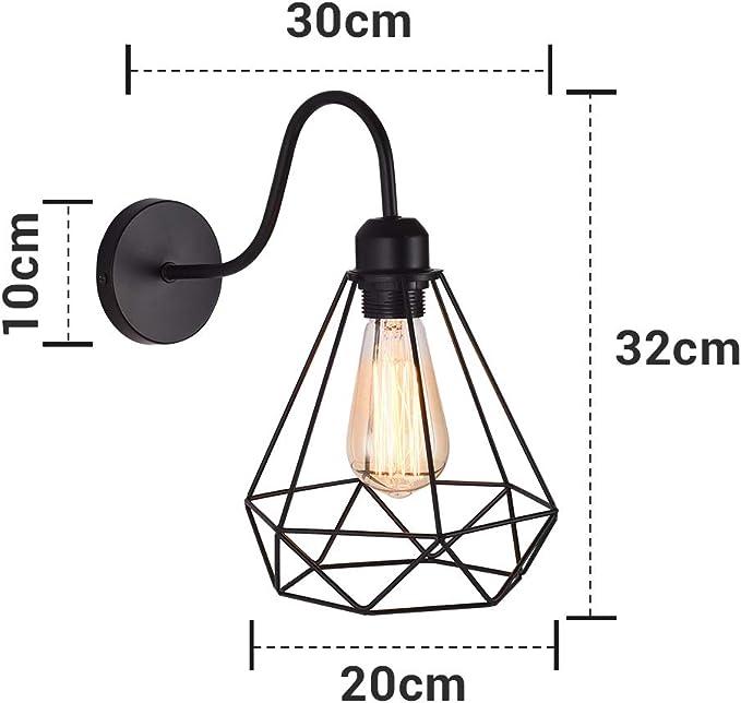 2x Industrielle Lampen Wandlampe Retro Lampen Edison Wandleuchten Licht f/ür Landhaus Schlafzimmer Wohnzimmer Esstisch