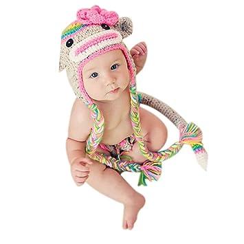 4850beac3fc Amazon.com   Pep-Baby® Handmade Knitted Crochet Hat Costume Newborn Baby  Photograph Props Set Monkey (Pink)   Baby