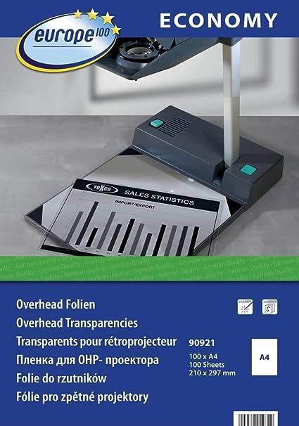 europe100 90921 - Hojas de transparencia para impresora y ...